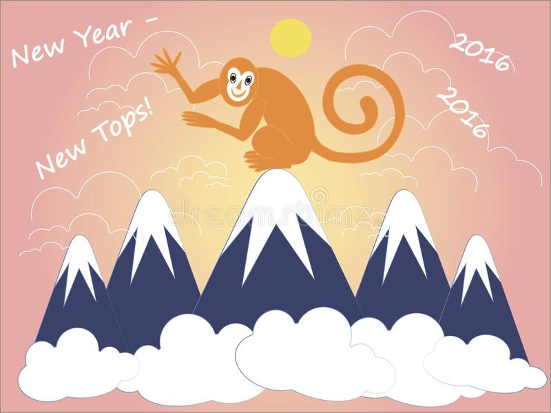 New year - new tops, 2016. Greeting card. Red monkey is sitting on top of the blue snow-capped mountains. For travel agencies, alpine club, tour club, hiking royalty free illustration