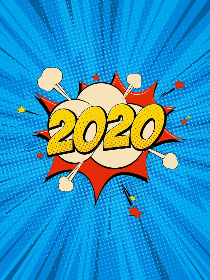 New Year 2020.4. New Year 2020 pop art comic background lightning blast halftone dots. Cartoon Vector Illustration on blue stock illustration