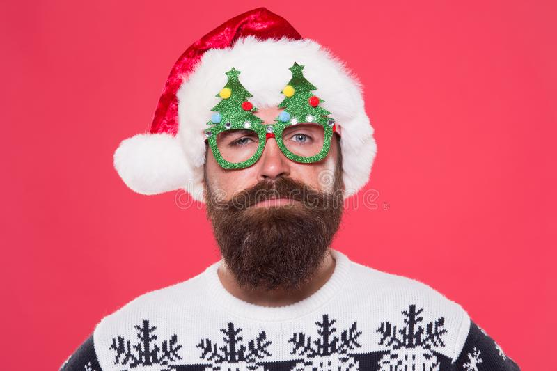 New year, new you. Bearded man wear christmas tree party glasses. Santa man with long beard and mustache. Hipster man stock image