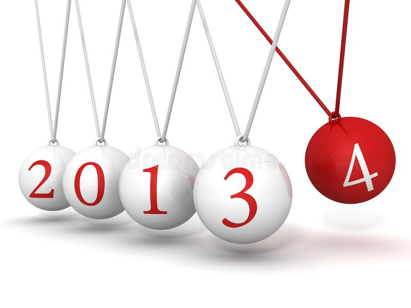New year 2014 Newton cradle balls stock illustration