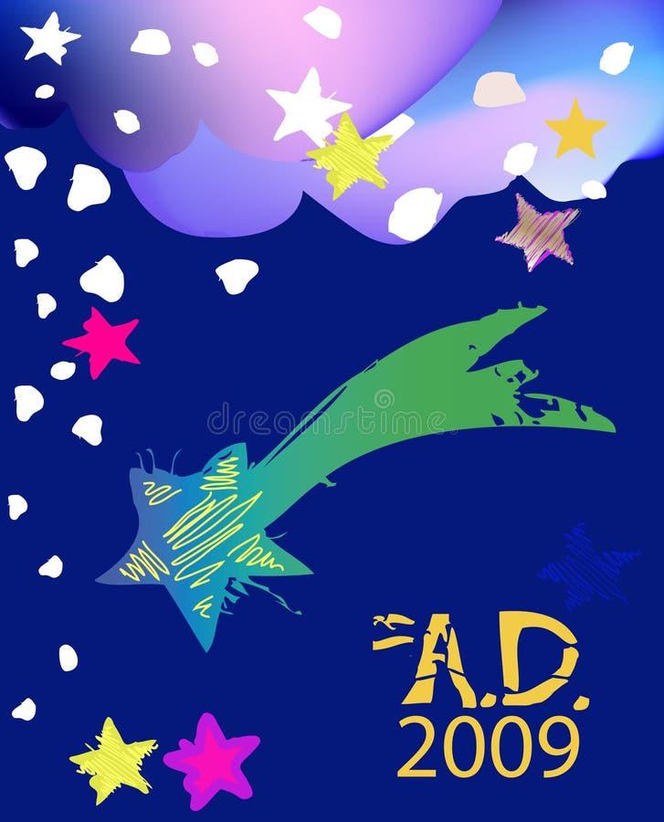 New year night. Stars and sky jn new year stock illustration