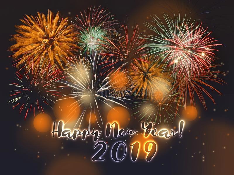 New Year fireworks background 2019. New Year night fireworks background with Happy New Year wishes 2019 vector illustration