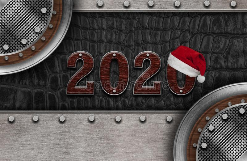 New year 2020 number on leather background. Mock up banner space for display or montage of product,holiday celebration greeting vector illustration