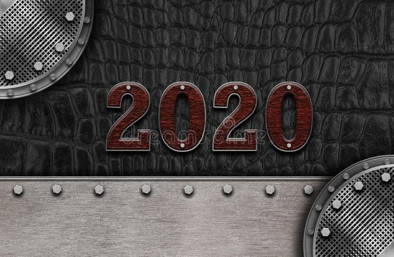 New year 2020 number on leather background. Mock up banner space for display or montage of product,holiday celebration greeting royalty free illustration