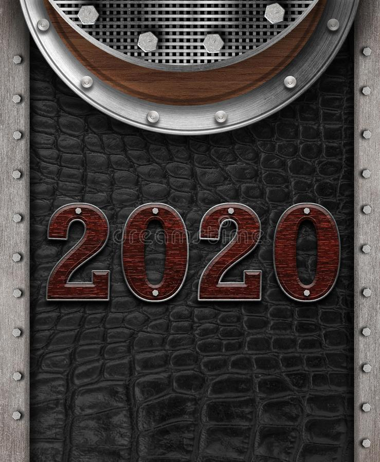New year 2020 number on leather background. Mock up banner space for display or montage of product,holiday celebration greeting stock illustration