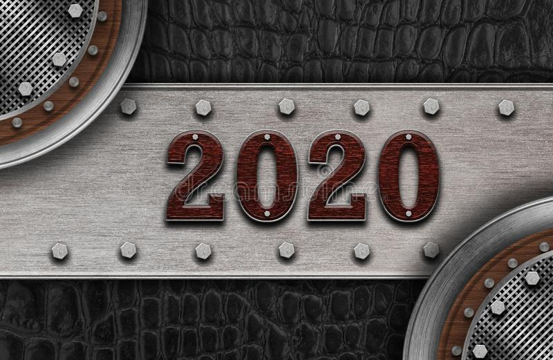 New year 2020 number on leather background. Mock up banner space for display or montage of product,holiday celebration greeting. New year 2020 wood number on vector illustration