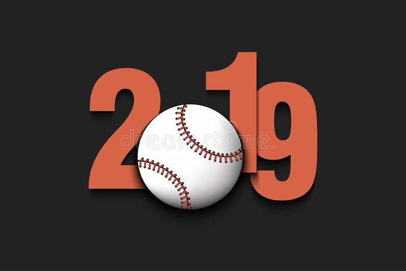 New Year numbers 2019 and baseball ball vector illustration