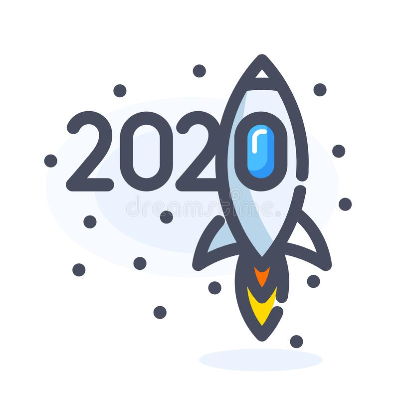 2020, new year numbers cartoon design with flying in space or in the sky rocket among stars or snowflakes. Isolated stock illustration