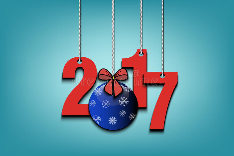 New Year numbers 2017 and Christmas ball. From bow on strings. Vector illustration royalty free illustration