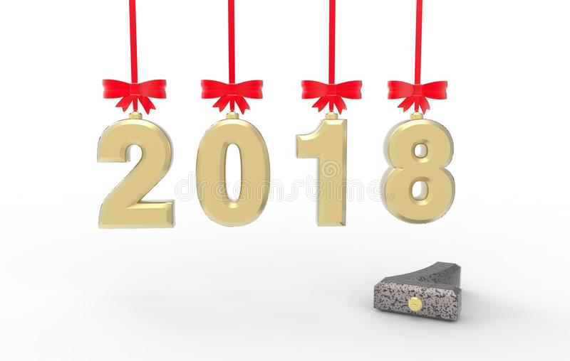 New year 2018 with old 2017 3d illustration royalty free stock images