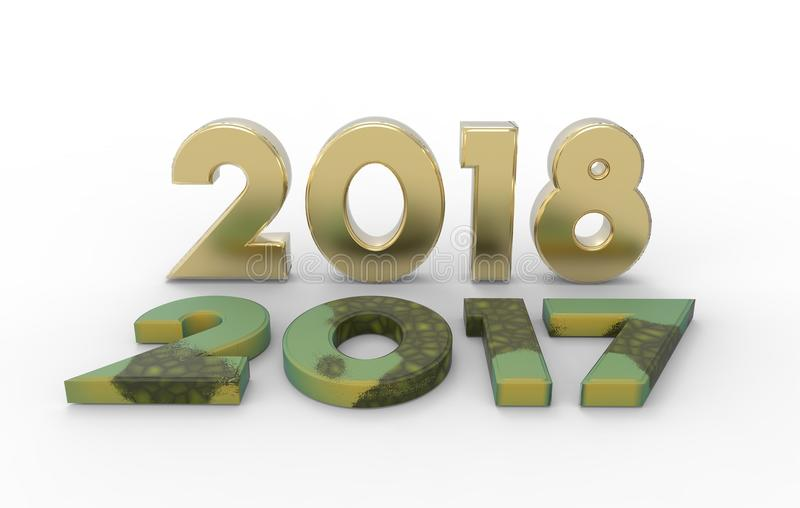 New year 2018 with old 2017 3d illustration stock image