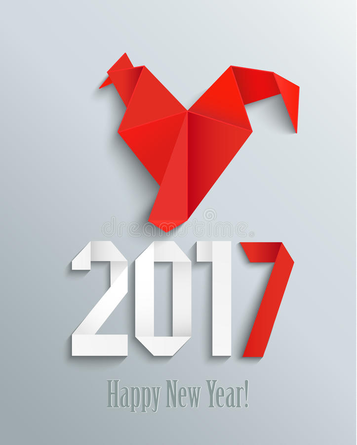 New 2017 year in origami style. stock illustration