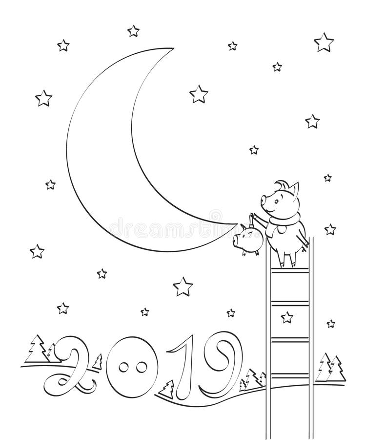 New year 2019 outline drawing of a cute pig, year of pig linear style and Hand drawn Vector stock illustration