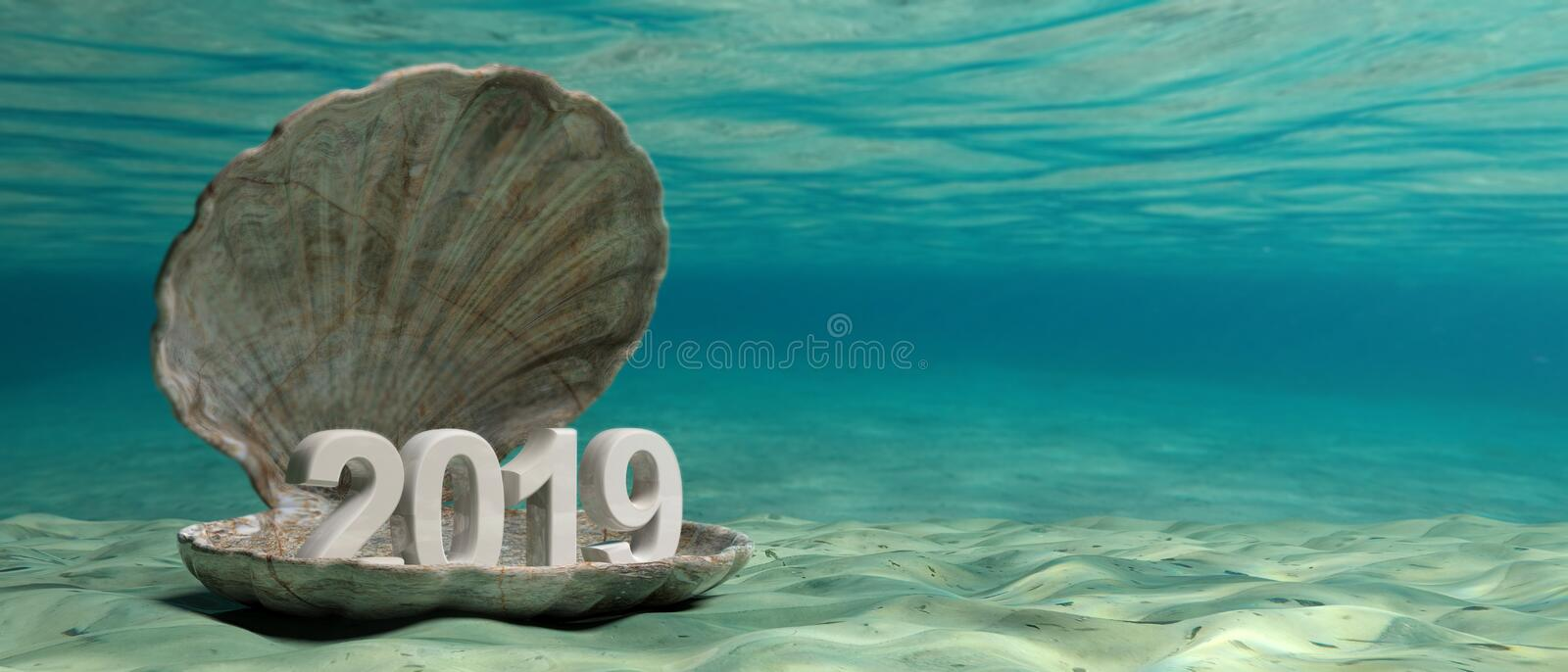 2019 New year in an oyster shell underwater, on the seabed. 3d illustration royalty free illustration