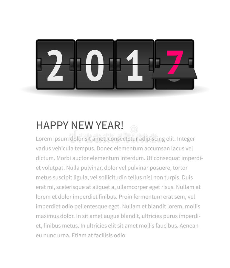New Year page concept. Flip clock changing to 2017. Digital countdown timer with 2017 numbers represents time going forward. New Year page concept with text stock illustration