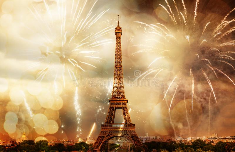 new year in Paris fireworks around Eiffel tower royalty free stock photography