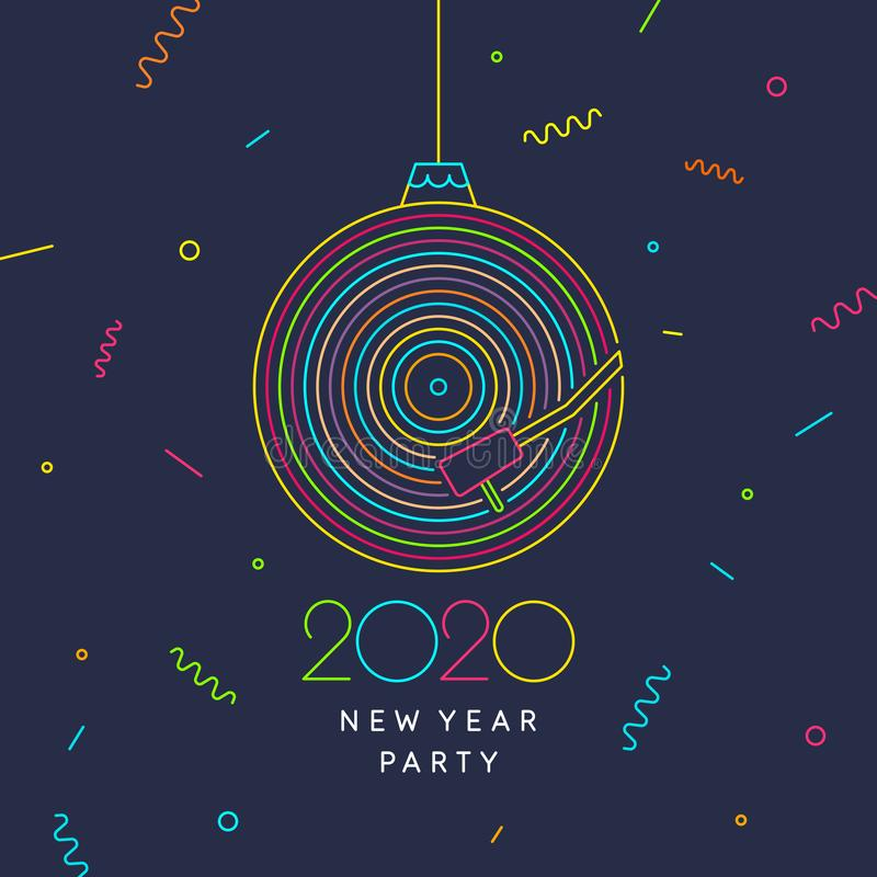 2020 New Year party banner. Poster of the Vinyl record. Vector illustration. 2020 New Year party banner. Poster of the Vinyl record. Vector illustration music royalty free illustration