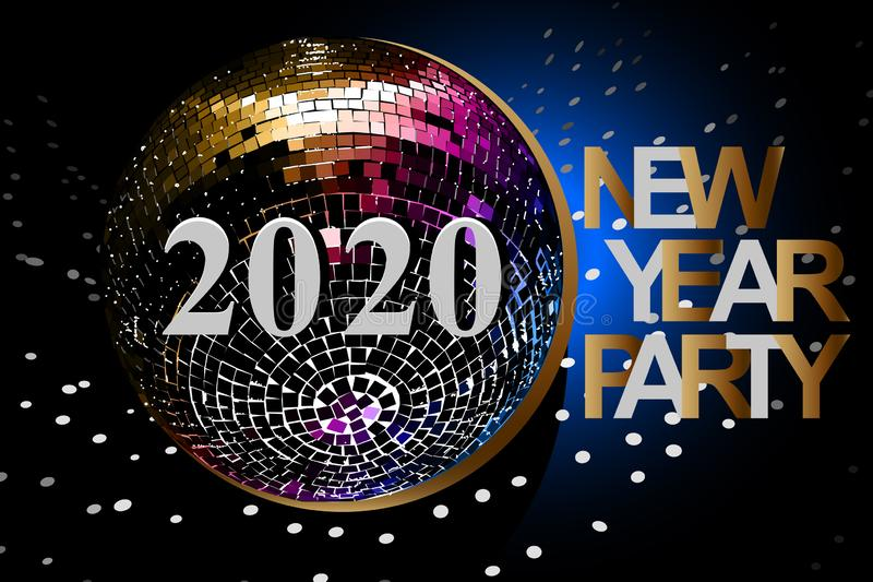 New Year Party card with numbers 2020. Vector illustration with silver and gold numbers, disco ball on black background stock images