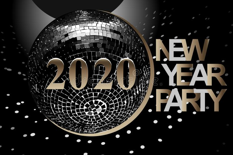 New Year Party card with numbers 2020. Vector illustration with silver and gold numbers, disco ball on black background stock photography