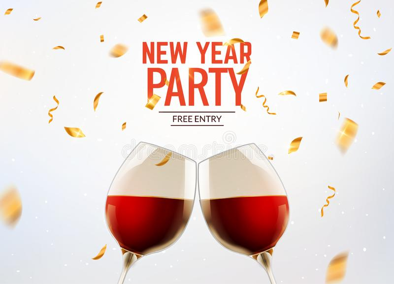 New year party celebration alcohol champagne background. Luxury twi glasses and confetti holiday decoration stock illustration