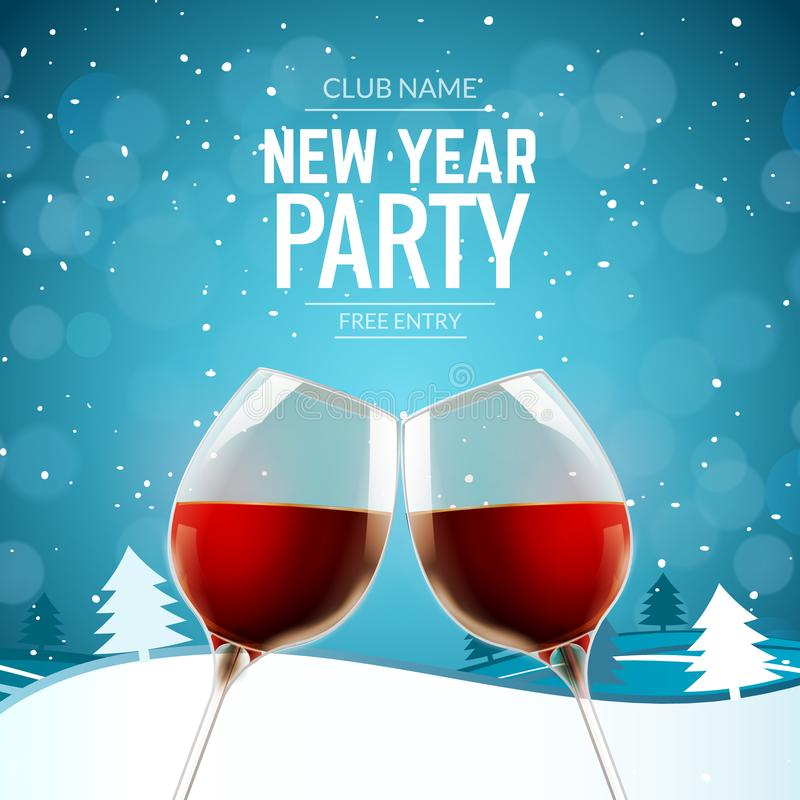 New year party celebration alcohol champagne wine background. Winter landscape with two glasses and confetti holiday decoration vector illustration