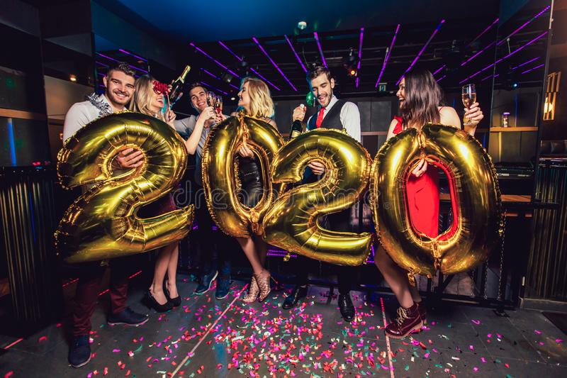 New year party celebration with friends in the club royalty free stock photos