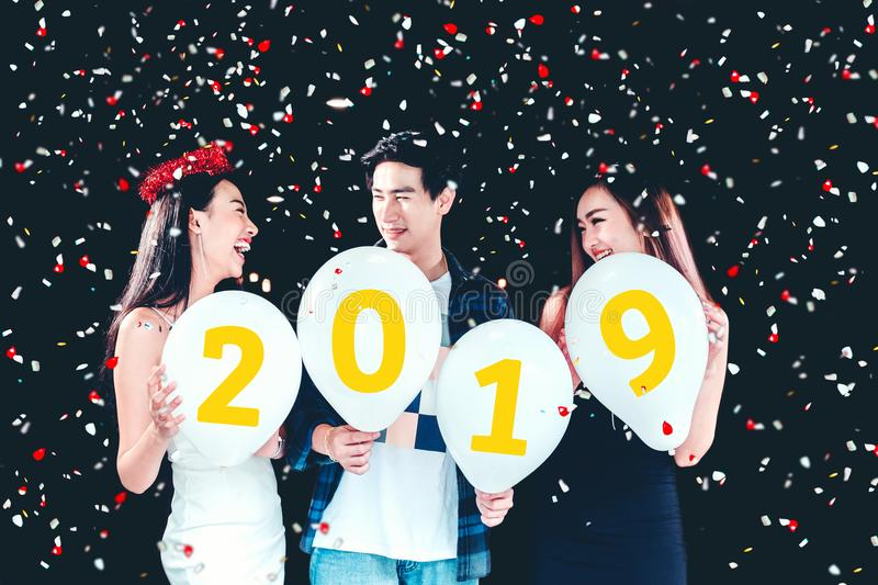 New year party ,celebration party group of asian young people ho royalty free stock photography