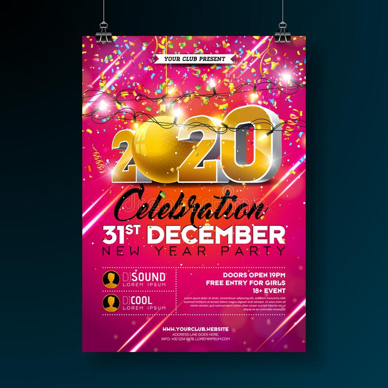 New Year Party Celebration Poster Template illustration with 3d 2020 Number and Falling Colorful Confetti on Red royalty free illustration