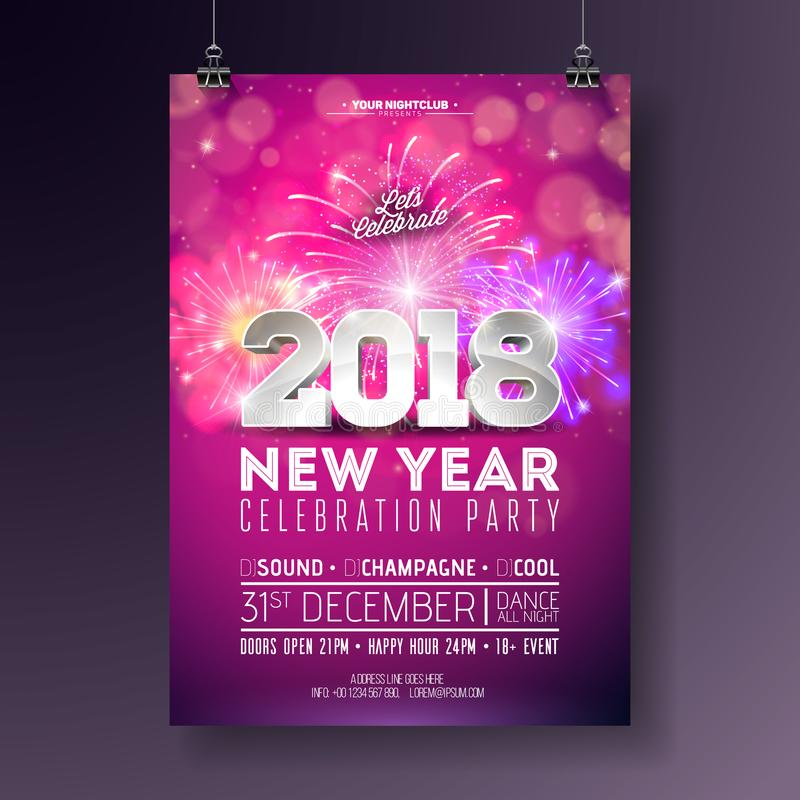 New Year Party Celebration Poster Template Illustration with 3d 2018 Number and Firework on Shiny Colorful Background. Vector Holiday Premium Invitation Flyer stock illustration