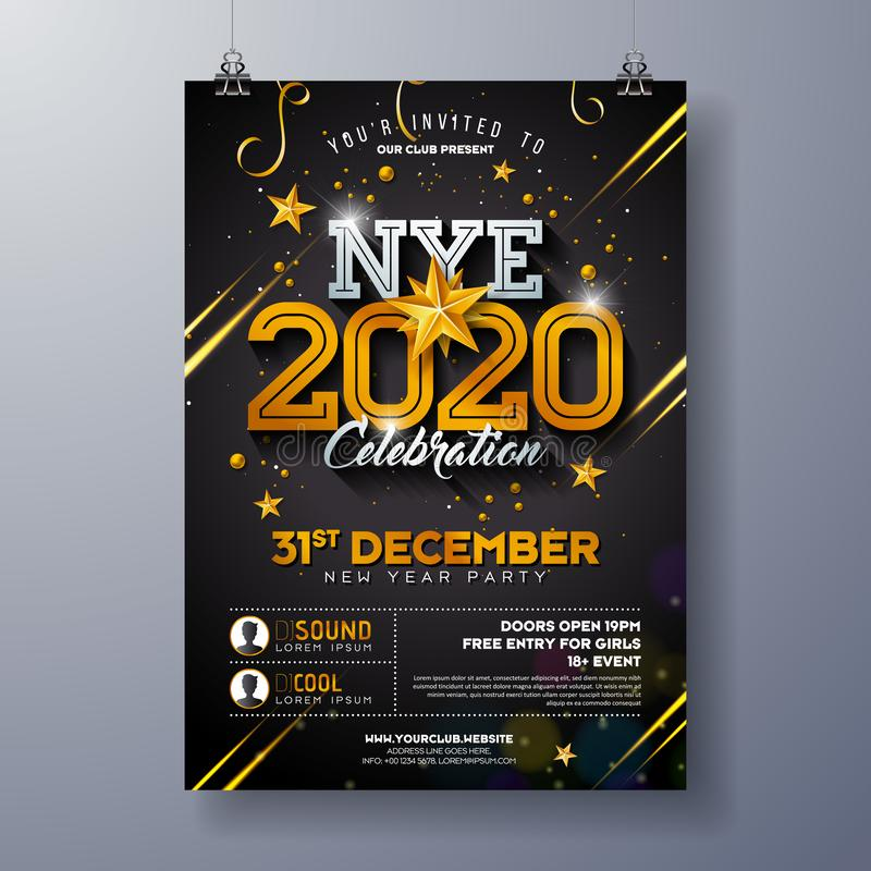 2020 New Year Party Celebration Poster Template Illustration with Shiny Gold Number on Black Background. Vector Holiday vector illustration