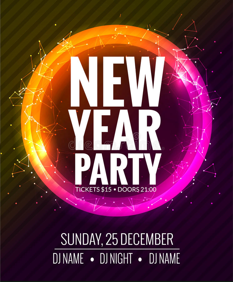 Download New Year Party And Christmas Party Poster Template Design. Disco  Night Banner Flyer.