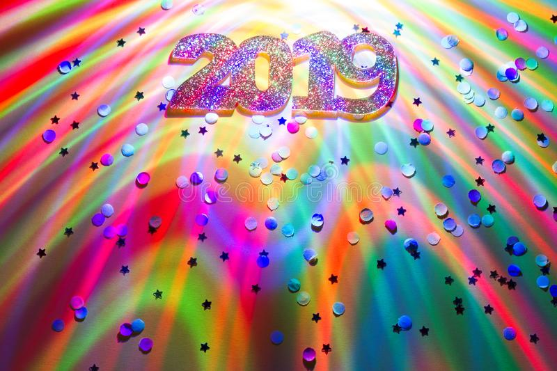 New year 2019 party colorful abstract background with lights and confetti. Concept stock image