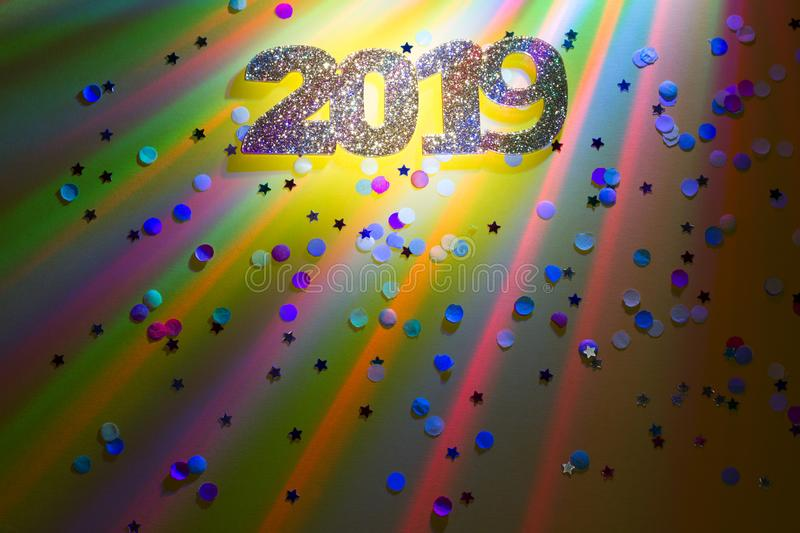 New year 2019 party colorful abstract background with lights and confetti. Concept royalty free stock photography