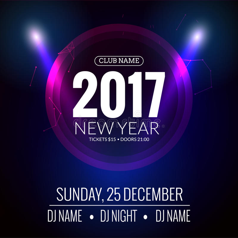 New Year Party Design Banner. Event Celebration Flyer Template