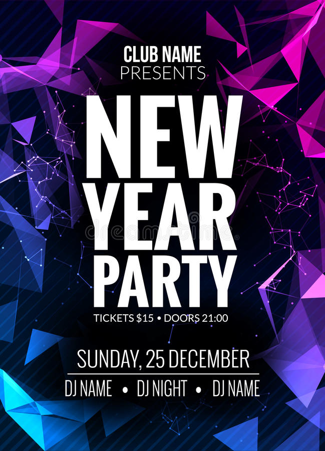 New Year Party Design Banner Event Celebration Flyer Template New