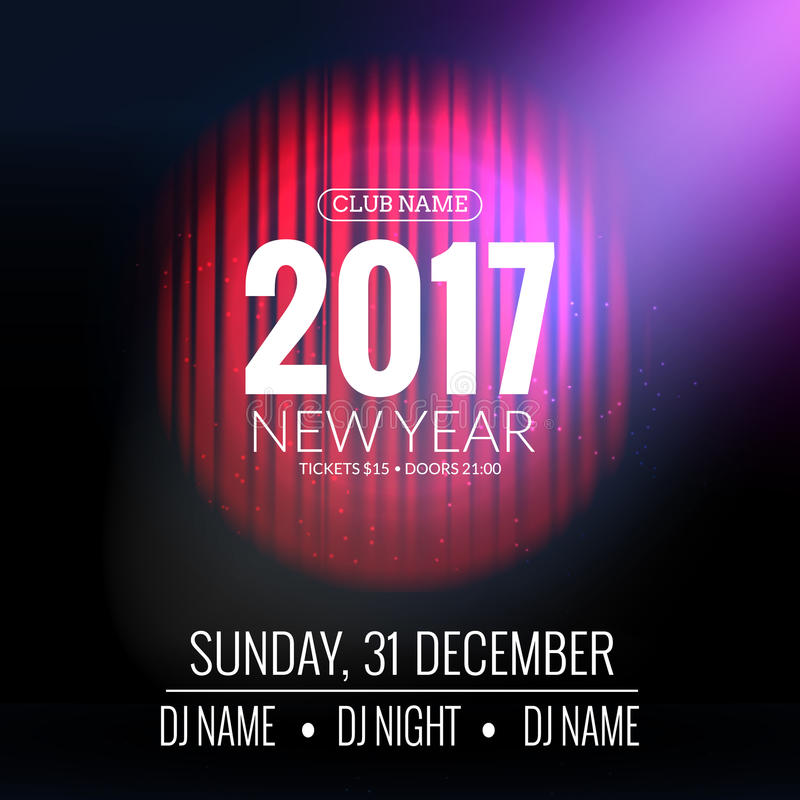 Download New Year Party Design Banner. Event Celebration Flyer Template  With Red Curtains. Stock