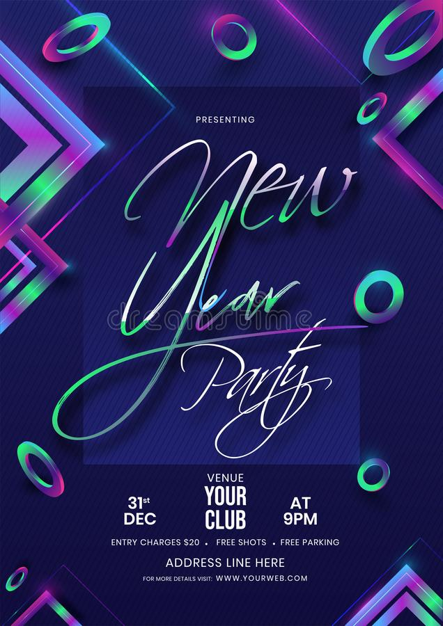 New Year Party Flyer Design Decorated with Abstract Geometric Elements. New Year Party Flyer Design Decorated with Abstract Geometric Elements on Blue royalty free illustration