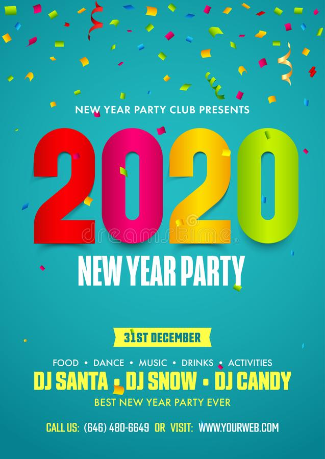 2020 New Year Party Flyer Design Decorated with Colorful Confetti and Event Details. 2020 New Year Party Flyer Design Decorated with Colorful Confetti and Event stock illustration