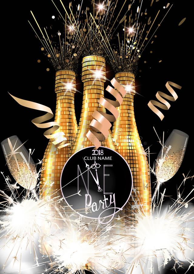 New year party invitation card with bottles of champagne glasses download new year party invitation card with bottles of champagne glasses and sparklers stock stopboris Choice Image
