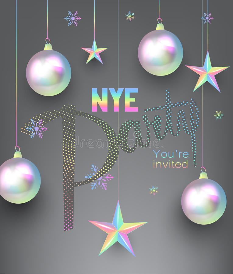 New year party invitation card with pearl colored christmas design elements. royalty free illustration