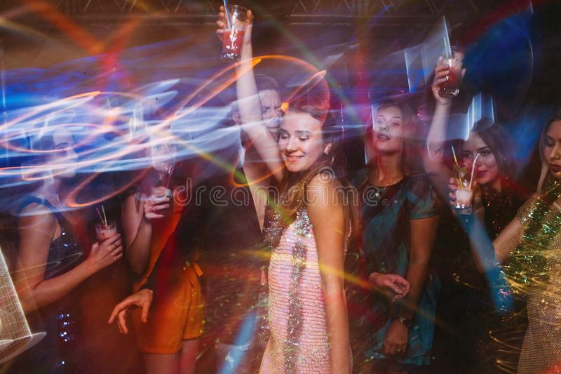 New Year party at night club in blurred motion royalty free stock photo