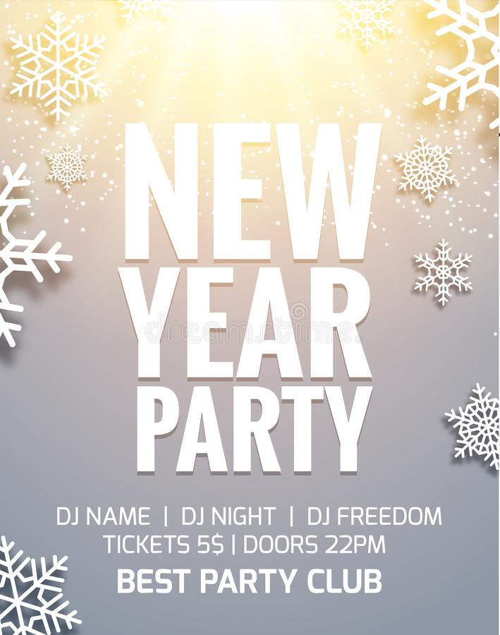 New year 2018 party poster invitation decoration design. Dance disco new year holiday template background with snowflakes vector illustration