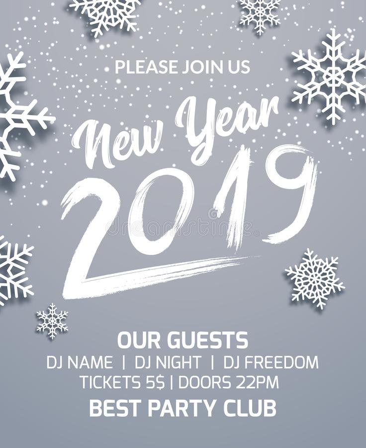 New year 2019 party poster invitation decoration design. Dance disco xmas holiday template background with snowflakes vector illustration