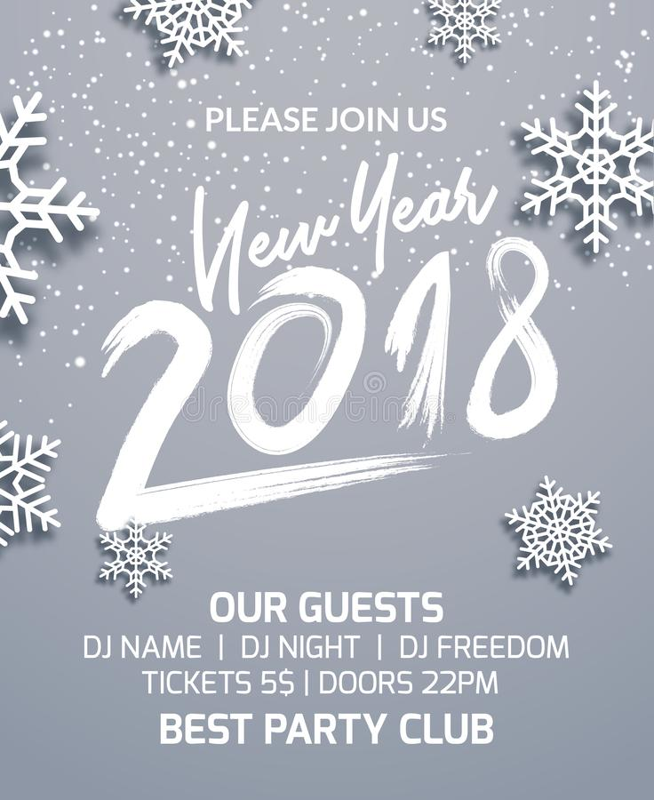 New year 2018 party poster invitation decoration design. Dance disco xmas holiday template background with snowflakes stock illustration