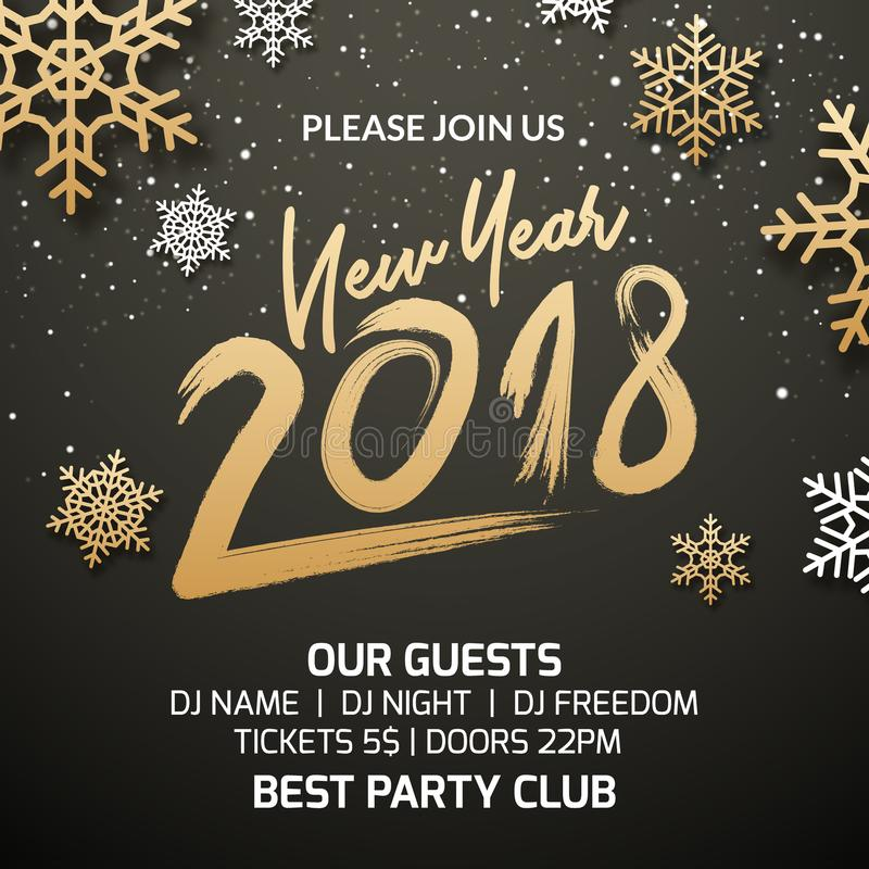 New Year 2018 party poster invitation decoration design. Xmas holiday template background with snowflakes royalty free illustration