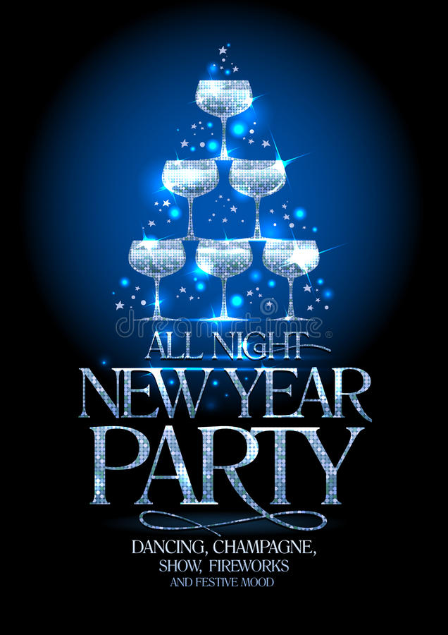 New Year party poster with silver stack of champagne glasses, decorated sparkling stars. vector illustration