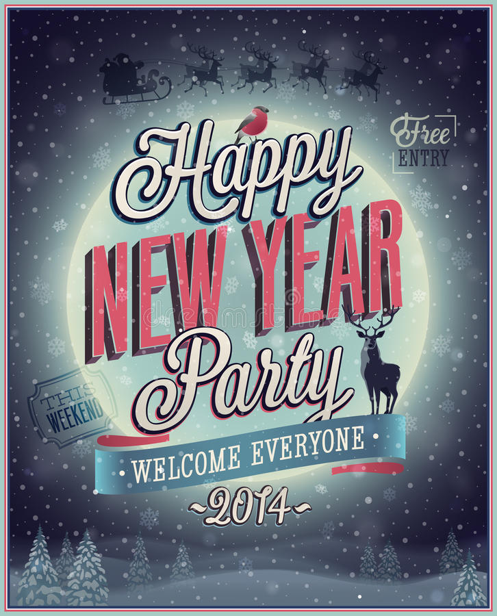 New Year Party Poster. stock illustration
