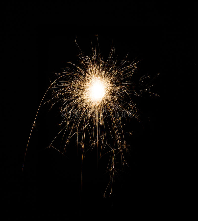 New year party sparkler on black background royalty free stock photos