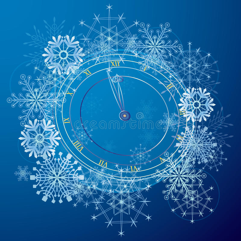New Year pattern with clock royalty free illustration