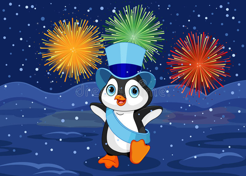 New Year Penguin royalty free illustration